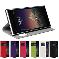 Ultra Thin Solid Color Visual Window Design PU Leather Full Body Case with Stand Case for Xiaomi Mi3