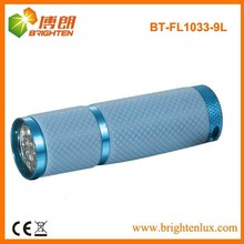 Factory Sale Colorful Night Used 9 led Aluminum Cheap led Flashlight with growing Lighting Silicon Rubber Grip