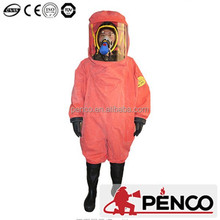 Orange PVC safety chemical resistant and chemical protective coverall