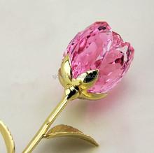 pink crystal glass rose flower for wedding return gift ideas