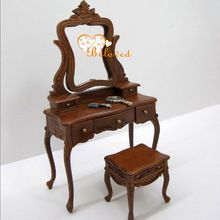 1/12 escala de casa de muñecas hechas a mano tocador con silla
