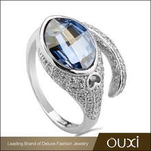 OUXI 2015 luxury style value blue sterling 925 silver ring Y70068