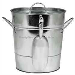 Galvanized zinc color ice bucket with plastic inner and scoop