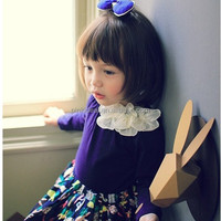 Girls T-shirt manufacturer wholesale spring model Three color temperament corsage, long sleeves