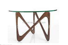 MJH173 Wooden Leg Glass Top Moebius Coffee Table