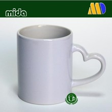 11oz white coated sublimation mugs with heart hand for heat transfer printing