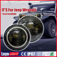 """7"""" round led sealed beam 45w replacement forJeep wrangler headlight with h4 plug ,h13 adaptor for Hilux,Sierra ,TJ JK CJ Wrangle"""