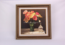 Colorful flower vase oil painting on canvas