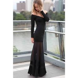 Wholesale Fashion Dress Long Sleeve Sexy Black Mesh Patchwork Off Shoulder Maxi Dress For Women