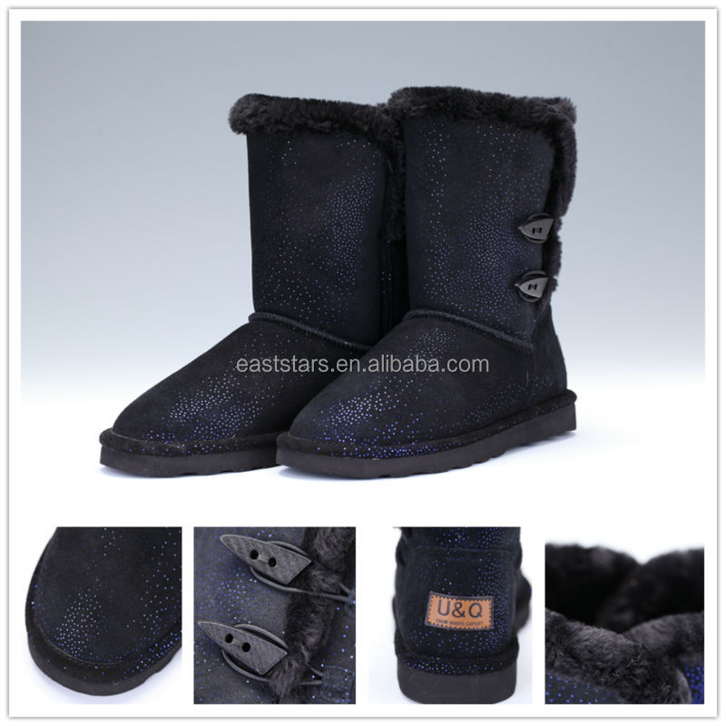 new design cow suede black winter boots