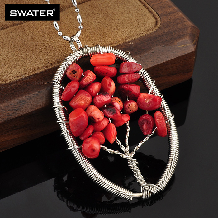Latest Products 2018 Jewelry Handmade Silver Leaf Design Bead Red Coral Necklace Price