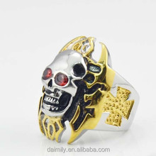 316 stainless steel jewelry skull biker ring fire skull biker ring