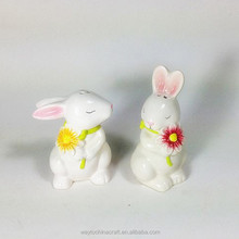 a pair of rabbit white porcelain salt and pepper shaker ,spice bottle