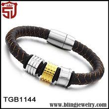 la venta de descuento nuevos productos marrón de cuero auténtico de plata y pulseras de oro