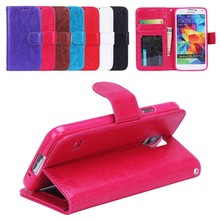 luxury leather case for samsung S5,wallet leather case for samsung S5 with credit card slot and stand.