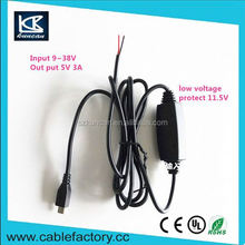 Free samples ul2725 usb cable input 9-38V low voltage protect mini/micro usb to stripped cable for mobile phone charging