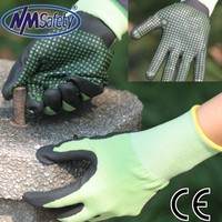 NMSAFETY 13/15 gauge nitrile coated work glove/palm dotted nitrile glove