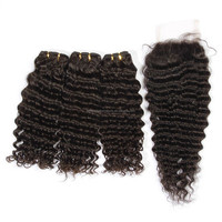 New arrival top quality 100% human hair top quality good feedback deep weave virgin cheap hair bundles with lace closure