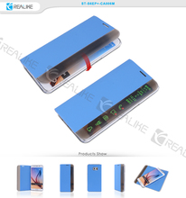 blue and gray view design TPU leather cell phone case for samsung galaxy s6 edge plus