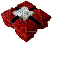 Fashion St. Faux Fur Ultra Soft Throw Blanket, 50 by 60-Inch, Red