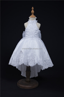 Custom Made MN-F012 Halter Backless Short Front Long Back Cute Bowknot Princess Ball Gown Flower Girl Dress