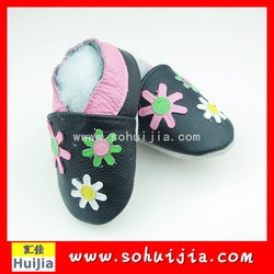 Good price factory colorful small flower cow leather embroidered hot girl china with baby shoes