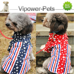 American Flag Cotton Pet T-Shirts Summer Casual Fashion Dog Clothes Puppy Dog Dress Up Clothing Free Shipping