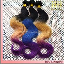 For fashion women 6a grade 100% human hair colored three tone hair weave