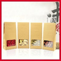 High Quality 10cm*23.5cm+3cm Bottom *140Mciron Kraft Paper Stand Up Bags Candy Packaging Bags Retail Packaging