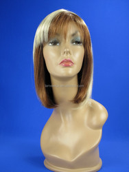 middle long mix color hair wig, synthetic fiber lace front wig manufacturer