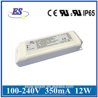 12W 350mA 36V Constant Current 1-10v dimmable LED Driver power supply with CE