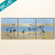 White birds drinking on river modern wildlife painting for three pieces
