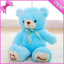 "13"" Sitting With Logo Embroidery on Sole Bear Plush, Plush Teddy Bear, Blue Bear Plush"