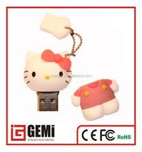 new arrival usb memory stick , cute hello kitty shaped usb flash drive , custom logo usb pendrive