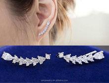 Best girl silver jewelry white gold plated AAA zircon 925 silver Cuff Wrap Earring