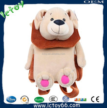 Custom make lovely plush soft dog backpack for kids