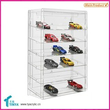 Custom 6-tier With Mirror Acrylic Toy Car Display Counter Lucite Car Models Display Shelves Clear Glass Toy Display Case