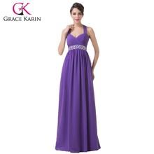 Newest Halter Design Ladies Wholesale Purple Evening Dress 2015 Grace Karin Dresses Long Chiffon CL6208
