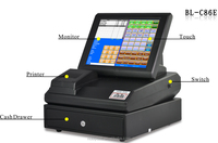 """Nice quality! cheap12"""" touch screen point of sale system equipment with thermal printer, cash drawer ,software ,Operating system"""