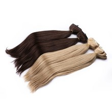 Wholesale Straight Double Wefted Clip in Remy Human Hair Extensions