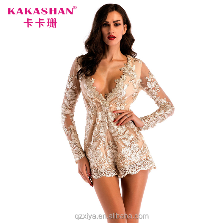Dames De Luxe Club Wear Or Sequin Profonde V Barboteuse Transparent Clubwear