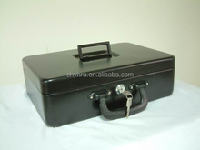 EXTRA LARGE DUAL HANDLE CYLINDER LOCK PORTABLE METAL CASH BOX SAFE