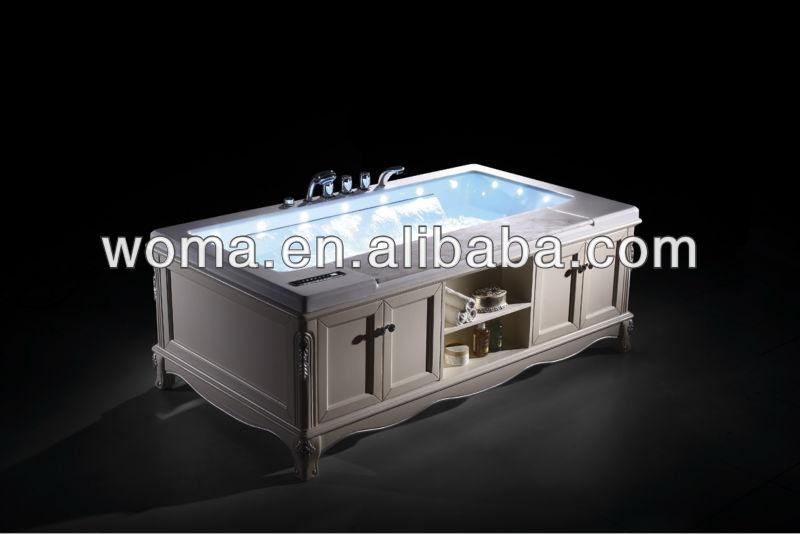 mármol combinado bañera de masaje de pie libre con Q403 madera maciza