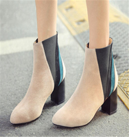 Thick high heel rubber boots women lady gaga heels suede boots