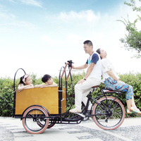 CE Danish bakfiets china 6 gears cargo bike three wheel taxi passenger tricycle