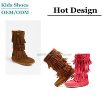 100% Cow Suede Leather Shoes 3 Layer Fringe Toddler Girls Winter Boots