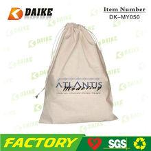 organic 100% cotton shoe bag, wholesale drawstring cotton shoe bag
