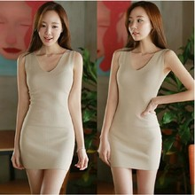 Secret Garden before special Korean Shopping sexy knit V-neck Slim sleeveless dresses 125 Casual Dress