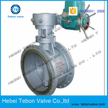 WCB cast steel double eccentric flange electric butterfly valve with positioner