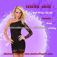 ML17692 Catching One Sleeve Lace Decoration One Shoulder Sexy Lace Black Clubwear One piece Ideal Girl Party Dress